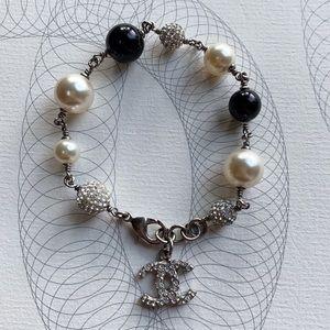 CHANEL Classic CC Logo Crystal & Pearl Bracelet